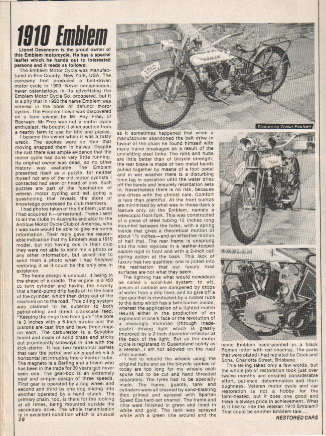 Emblem Motorcycle Article