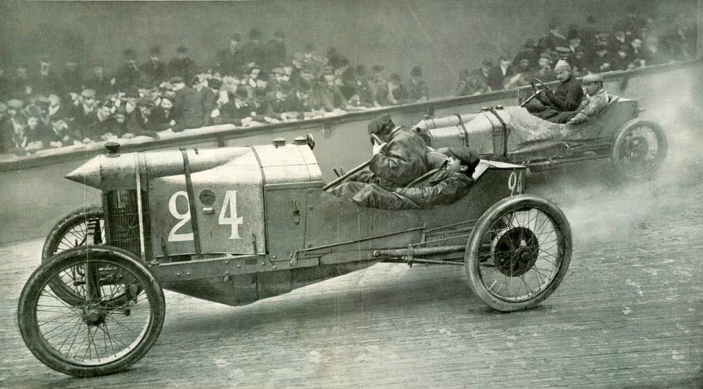 1909 Velodrome d'Hiver, Paris - Louis Naudin 1908 car - Georges Sizaire 1907 car